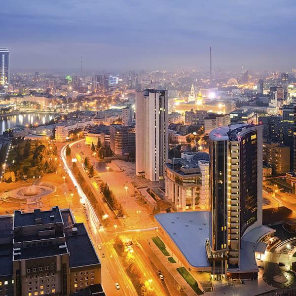 ночной город Екатеринбург